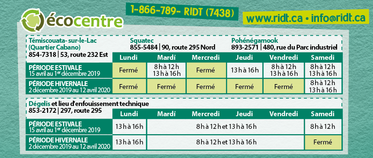Horaire ecocentres 2019 2020